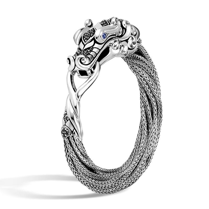 John Hardy Small Black Sapphire & Spinel Multi Chain Legends Naga Bracelet Angle View