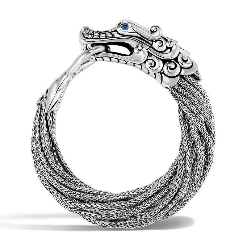John Hardy Small Black Sapphire & Spinel Multi Chain Legends Naga Bracelet Side View