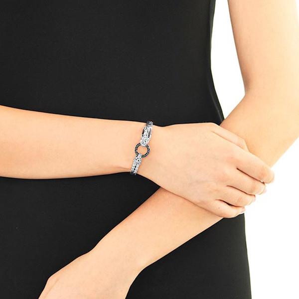 John Hardy Naga Black Sapphire Dragon Silver Bracelet on Model