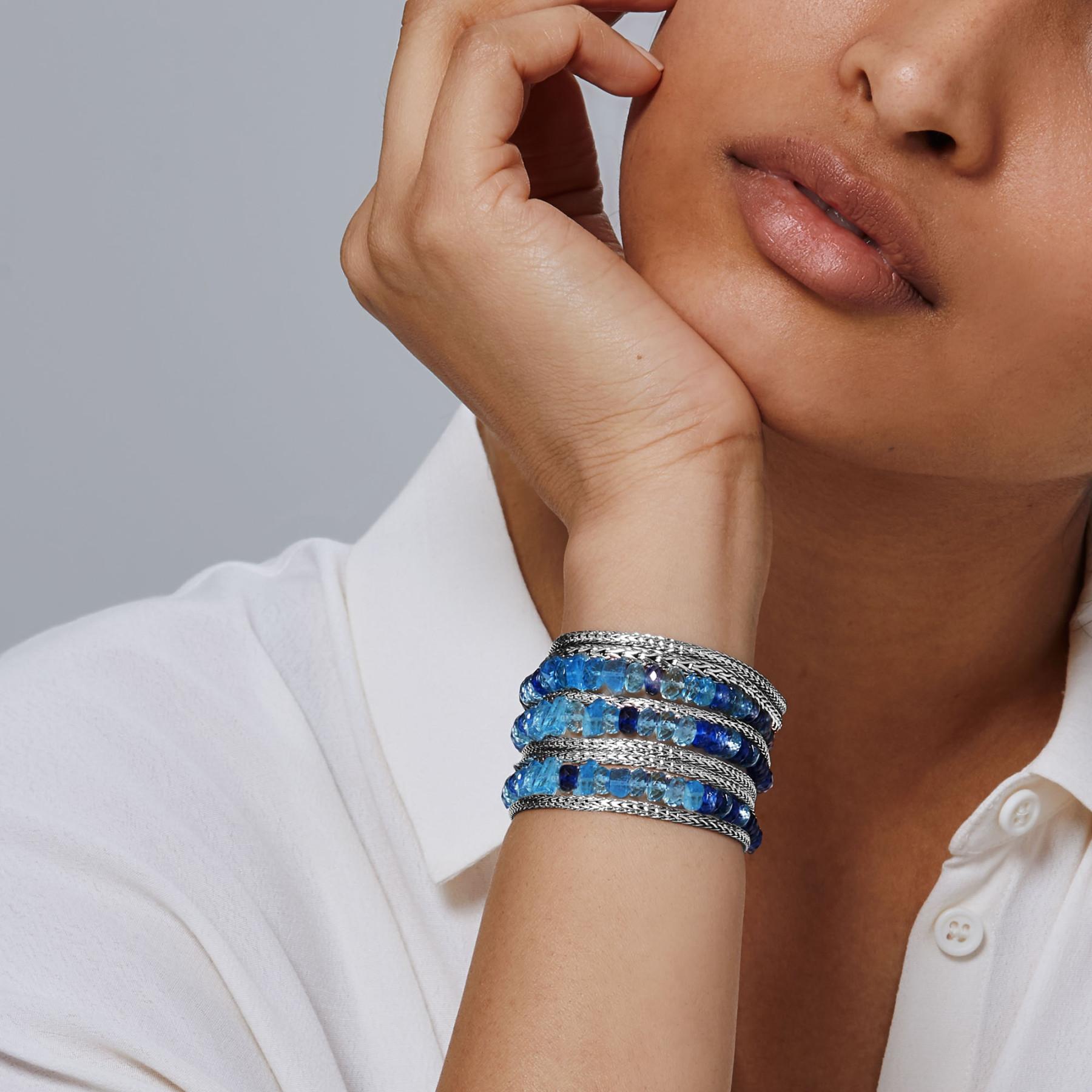 John Hardy Medium Classic Chain Multi-Row Aquamarine & Kyanite Bracelet