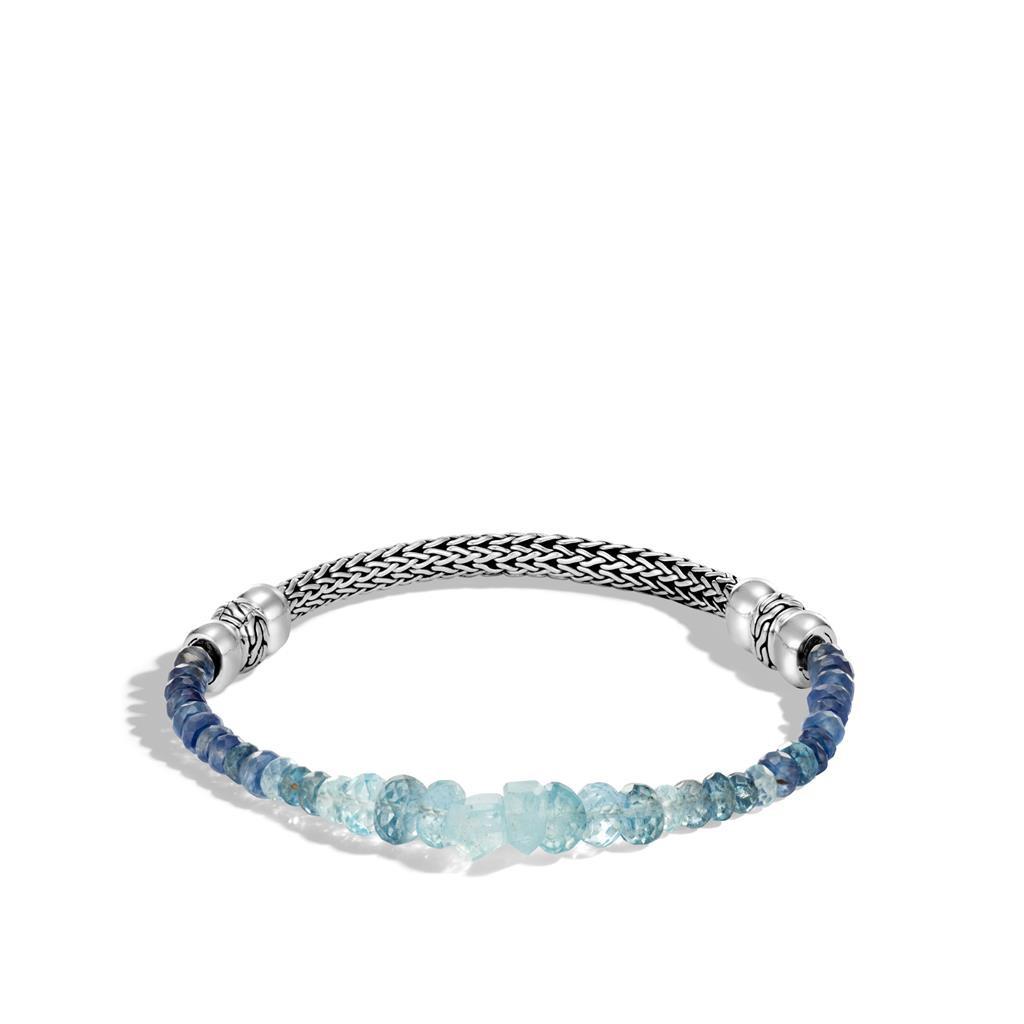 John Hardy Aquamarine & Kyanite Classic Chain Beaded Station Bracelet