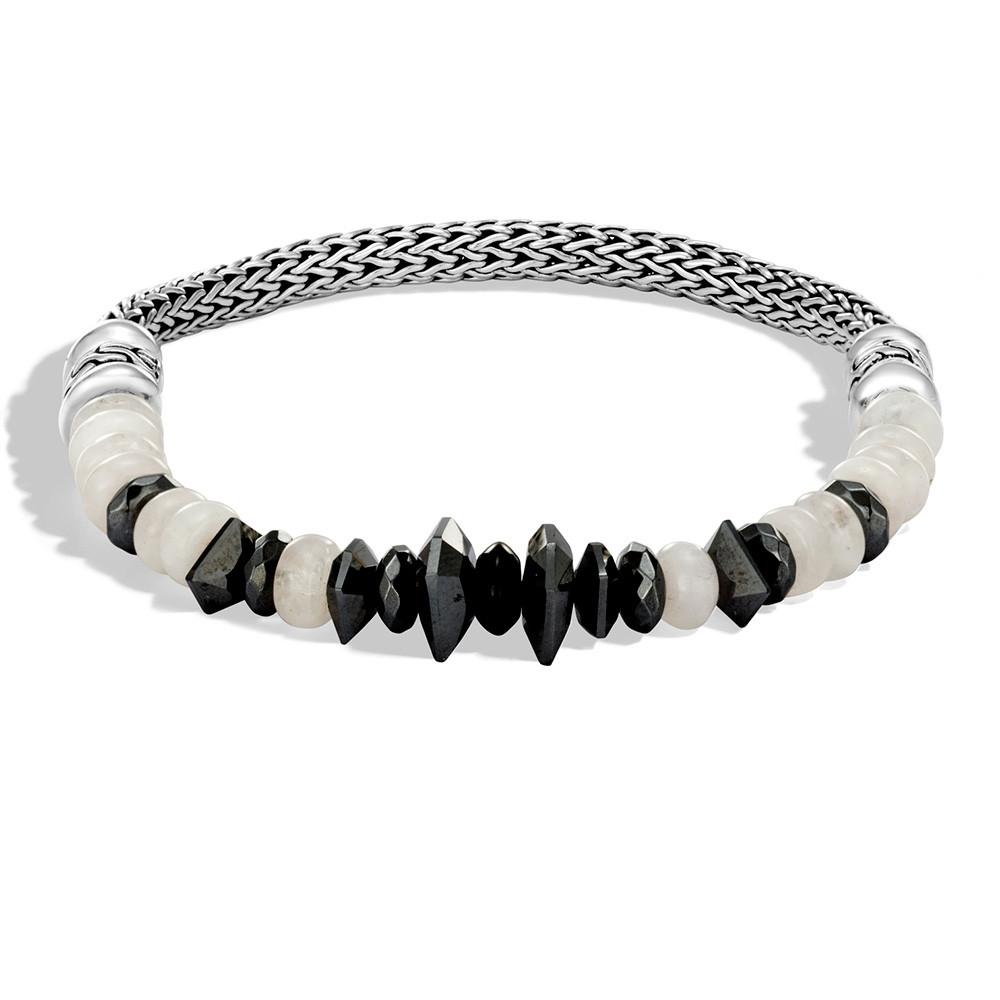 John Hardy Milky Rainbow Moonstone & Black Onyx Classic Chain Station Bracelet