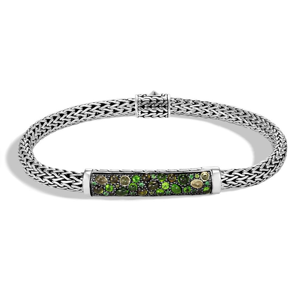 John Hardy Classic Chain Mixed Green Gemstone Station Bracelet