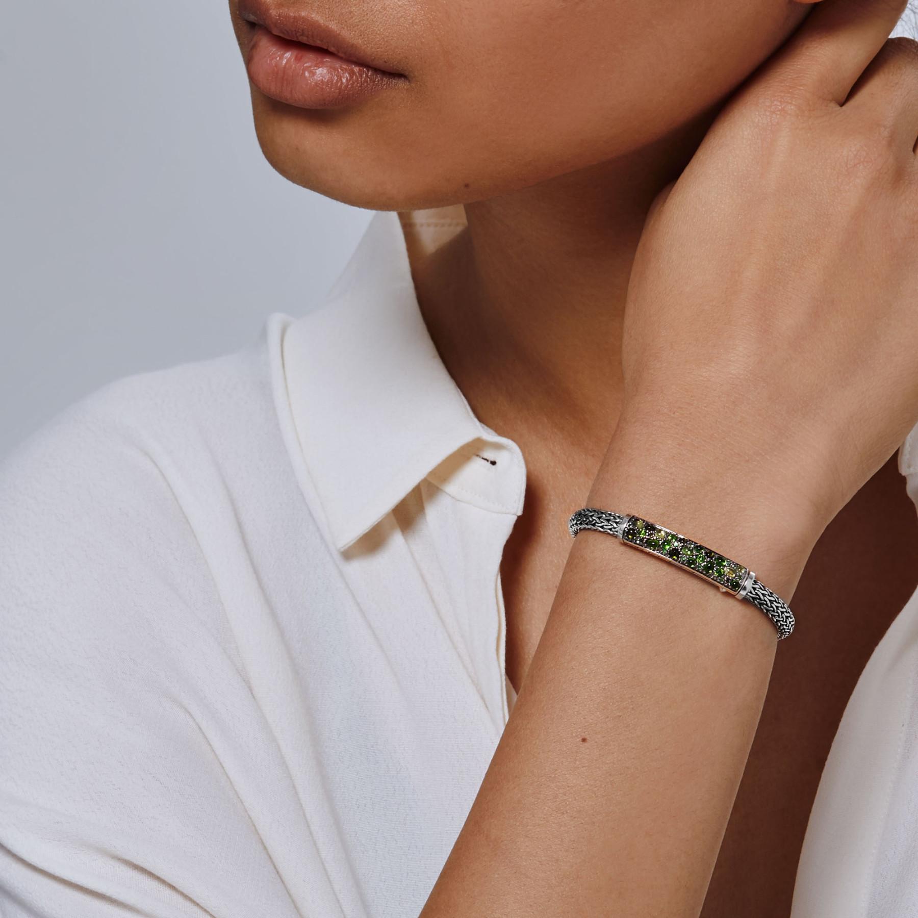 John Hardy Classic Chain Mixed Green Gemstone Station Bracelet on model