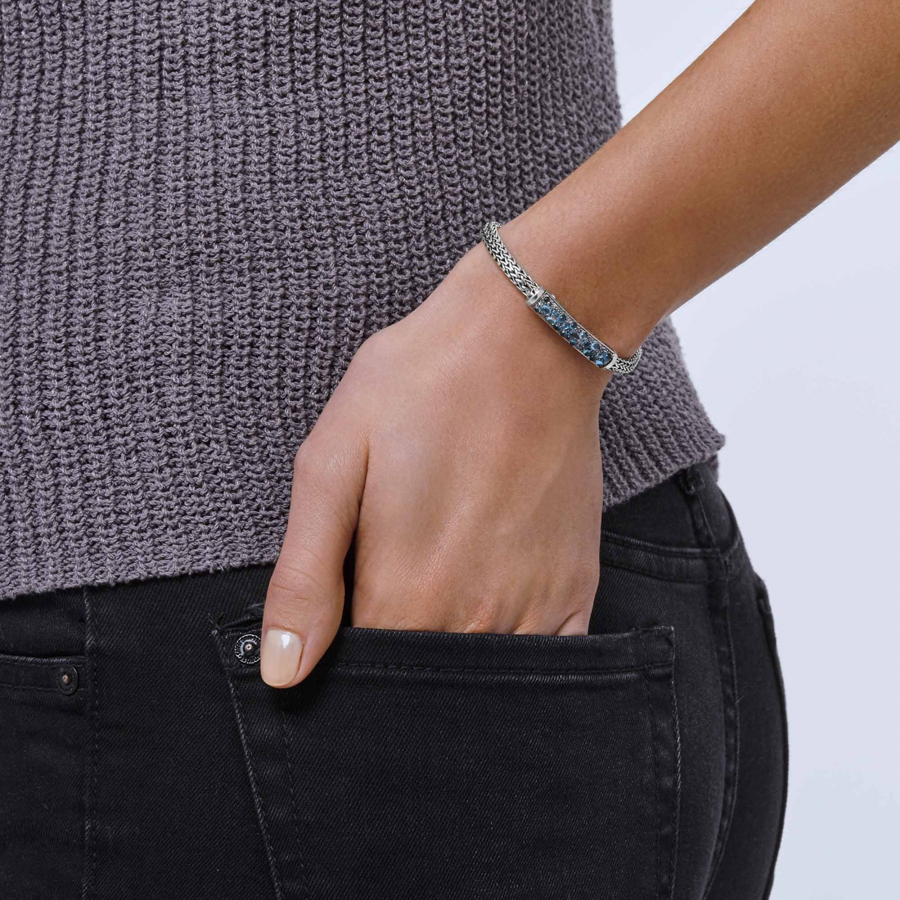 John Hardy Blue Topaz & Blue Zircon ID Station Classic Chain Bracelet on model