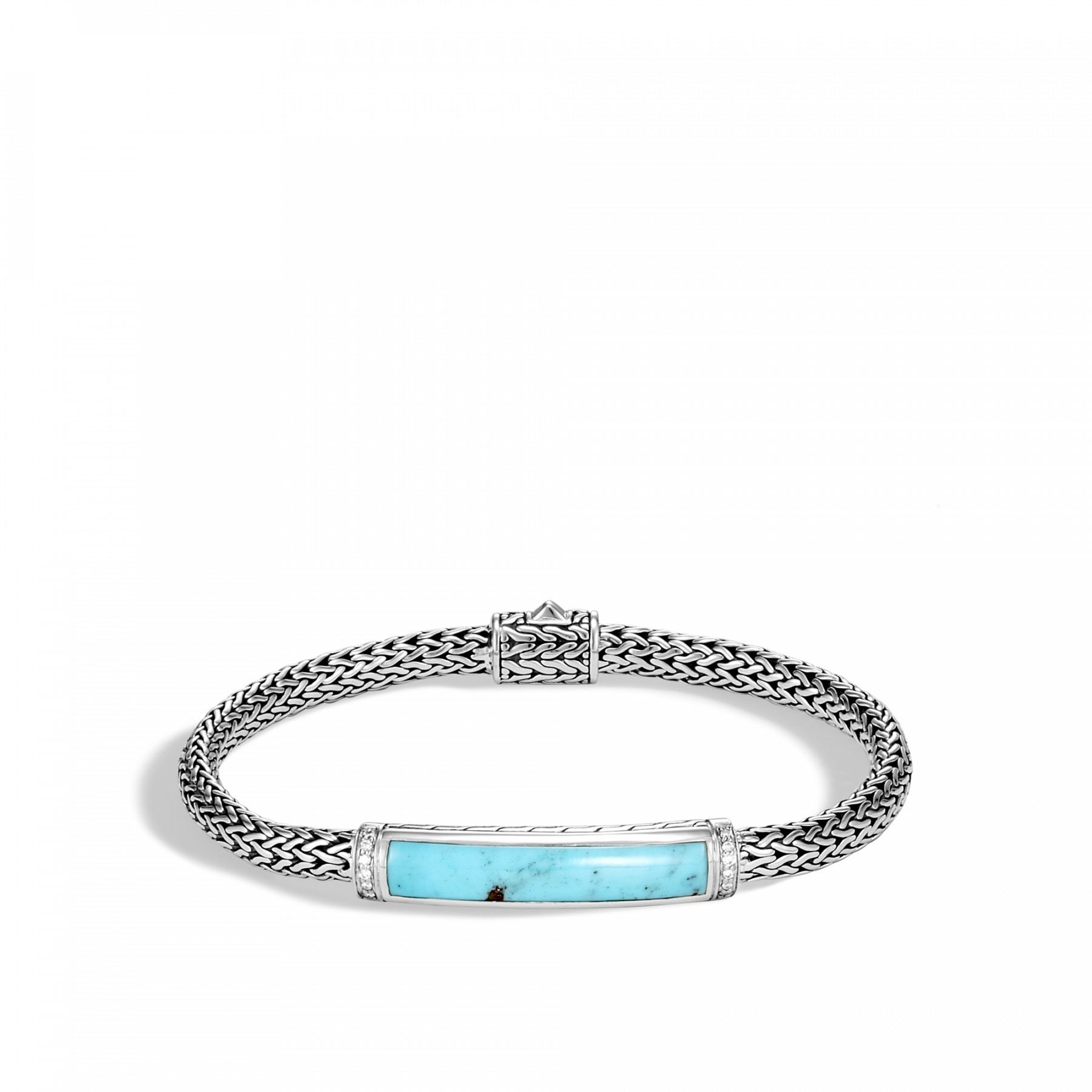 John Hardy Classic Chain Turquoise & Diamond Station Bracelet in Sterling Silver