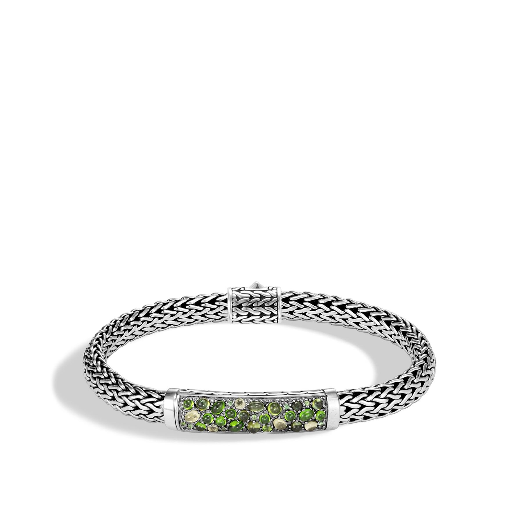 John Hardy Classic Chain Extra Large Green Tourmaline Station Bracelet