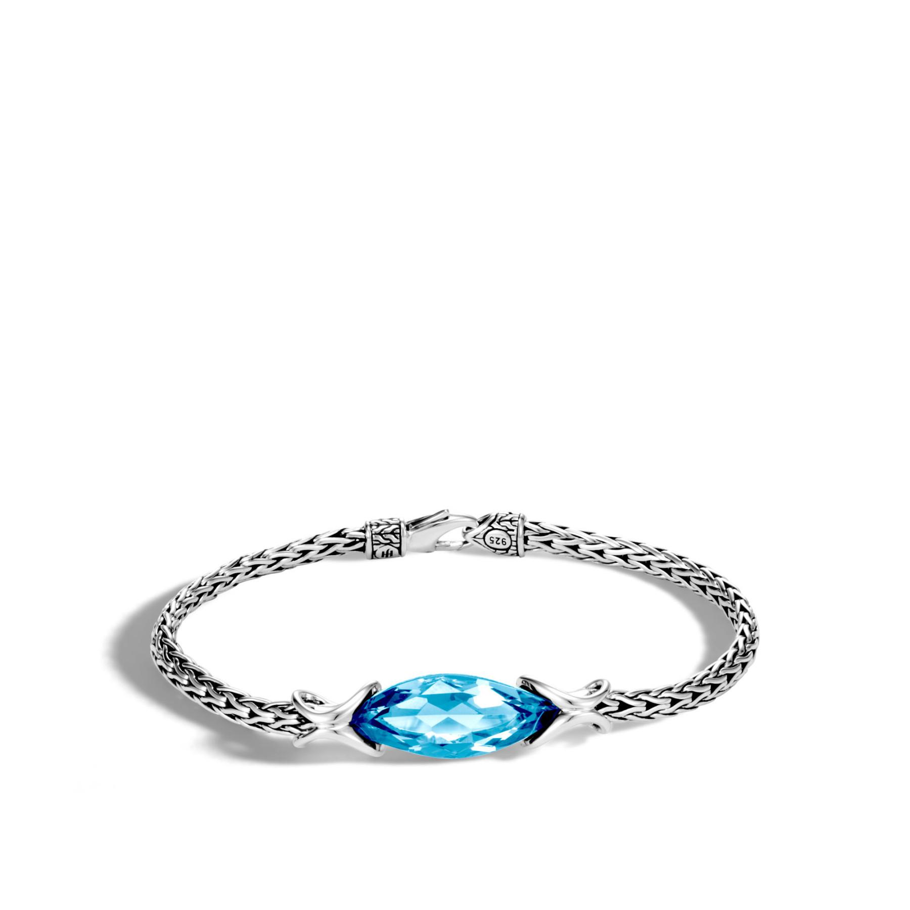 John Hardy Asli Classic Chain London Blue Topaz Bracelet in Sterling Silver