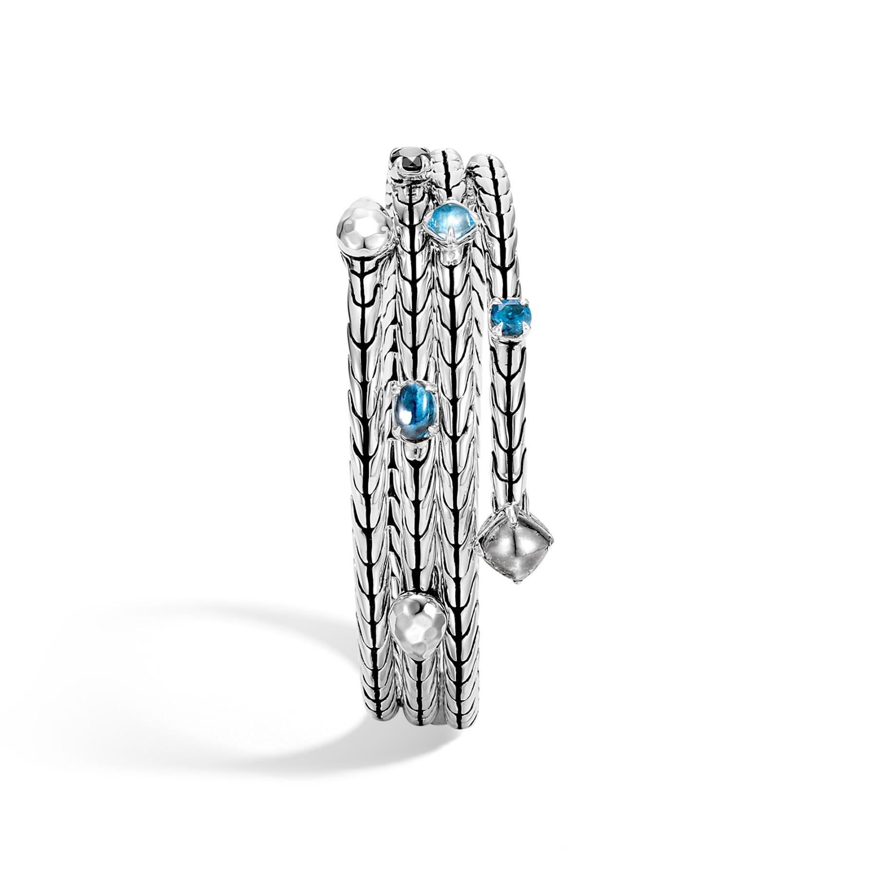 John Hardy Classic Chain Blue Topaz Coil Bracelet top view