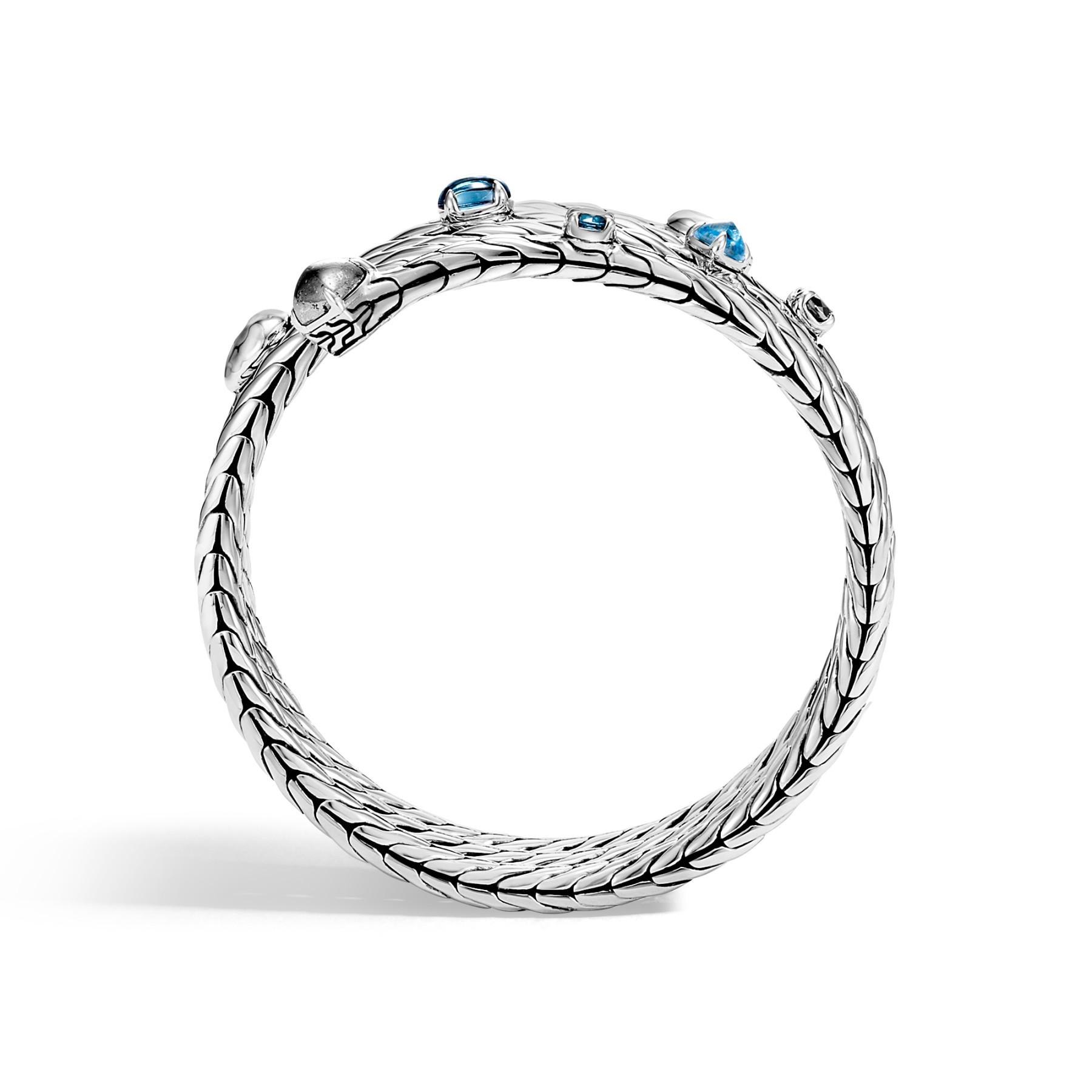 John Hardy Classic Chain Blue Topaz Coil Bracelet side view