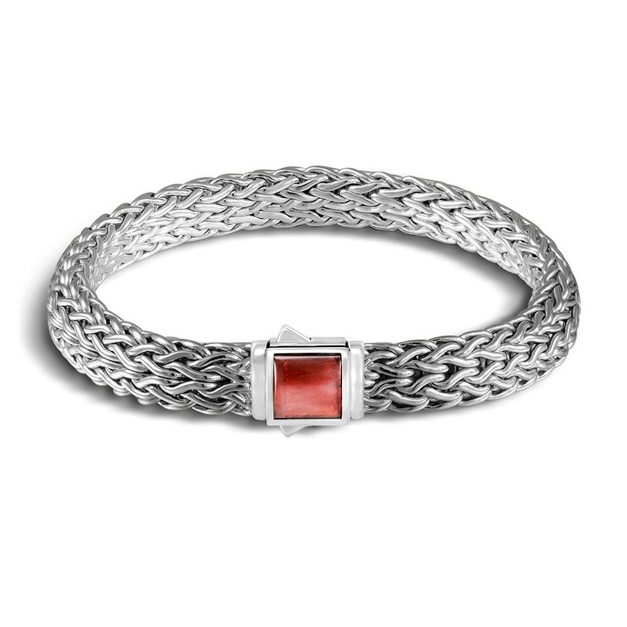 John Hardy Extra Large Classic Chain Garnet & Black Sapphire Reversible Bracelet