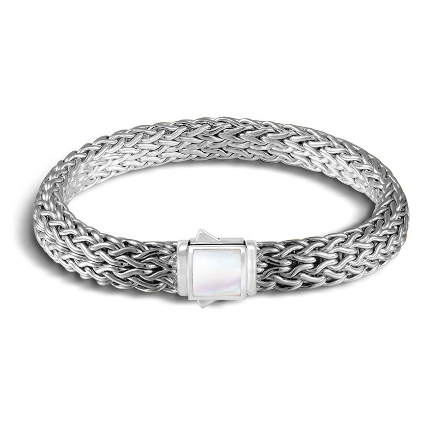 John Hardy Small Classic Chain Mother of Pearl & Black Sapphire Reversible Bracelet