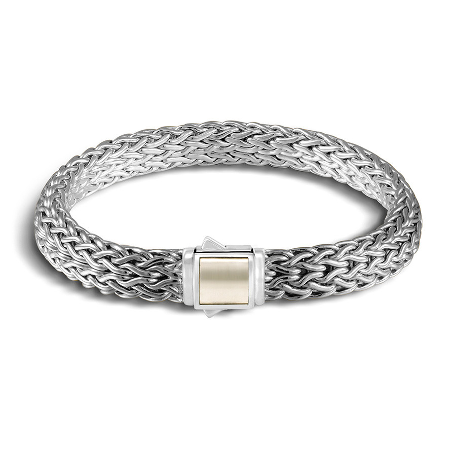 John Hardy Medium Classic Chain Pyrite & Black Sapphire Reversible Bracelet