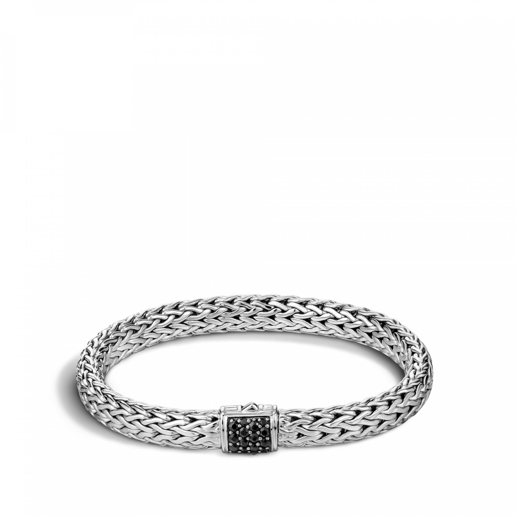 John Hardy Classic Chain Silver 7.45mm Bracelet with Black Sapphire Clasp