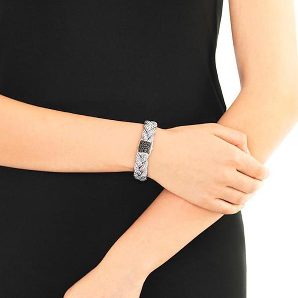 John Hardy 15mm Classic Chain Black Sapphire Braided Bracelet on Model