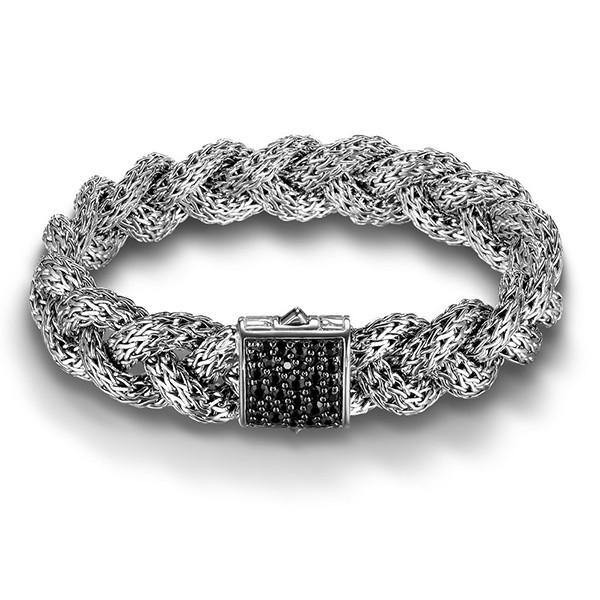 John Hardy 15mm Classic Chain Black Sapphire Braided Bracelet