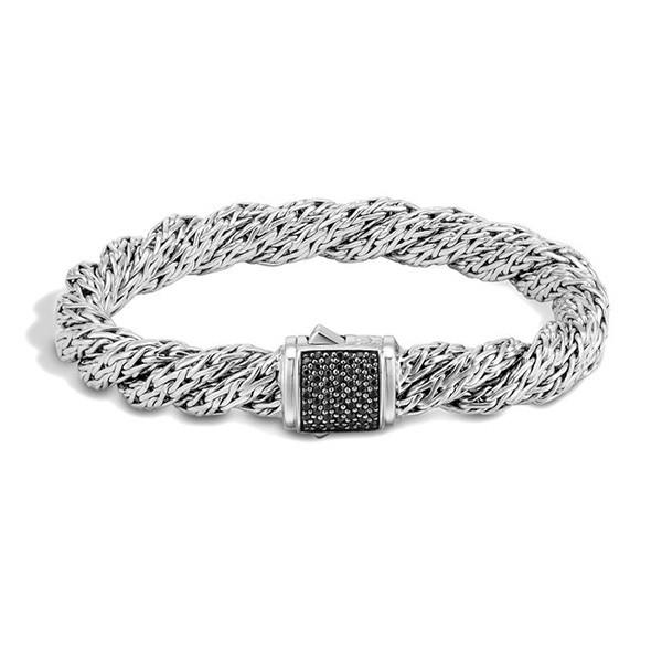 John Hardy Classic Chain 7.5mm Flat Twisted Black Sapphire Medium Bracelet