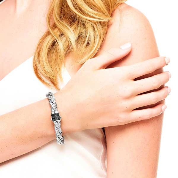John Hardy 7.5mm Flat Twisted Black Sapphire Bracelet on Model