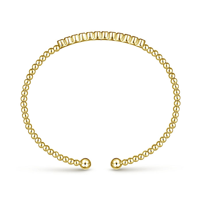 Gabriel & Co. Yellow Gold Diamond Row Bangle Bujukan Bracelet Angle 3