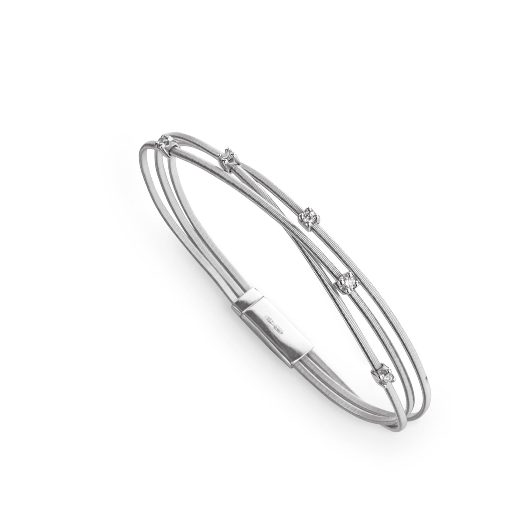 Marco Bicego Goa 18kt White Gold 3-Strand Bracelet with Diamonds .15TW
