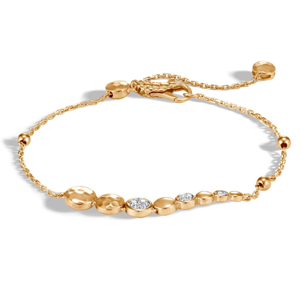John Hardy Dot Yellow Gold & Diamond Pull Through Station Bracelet