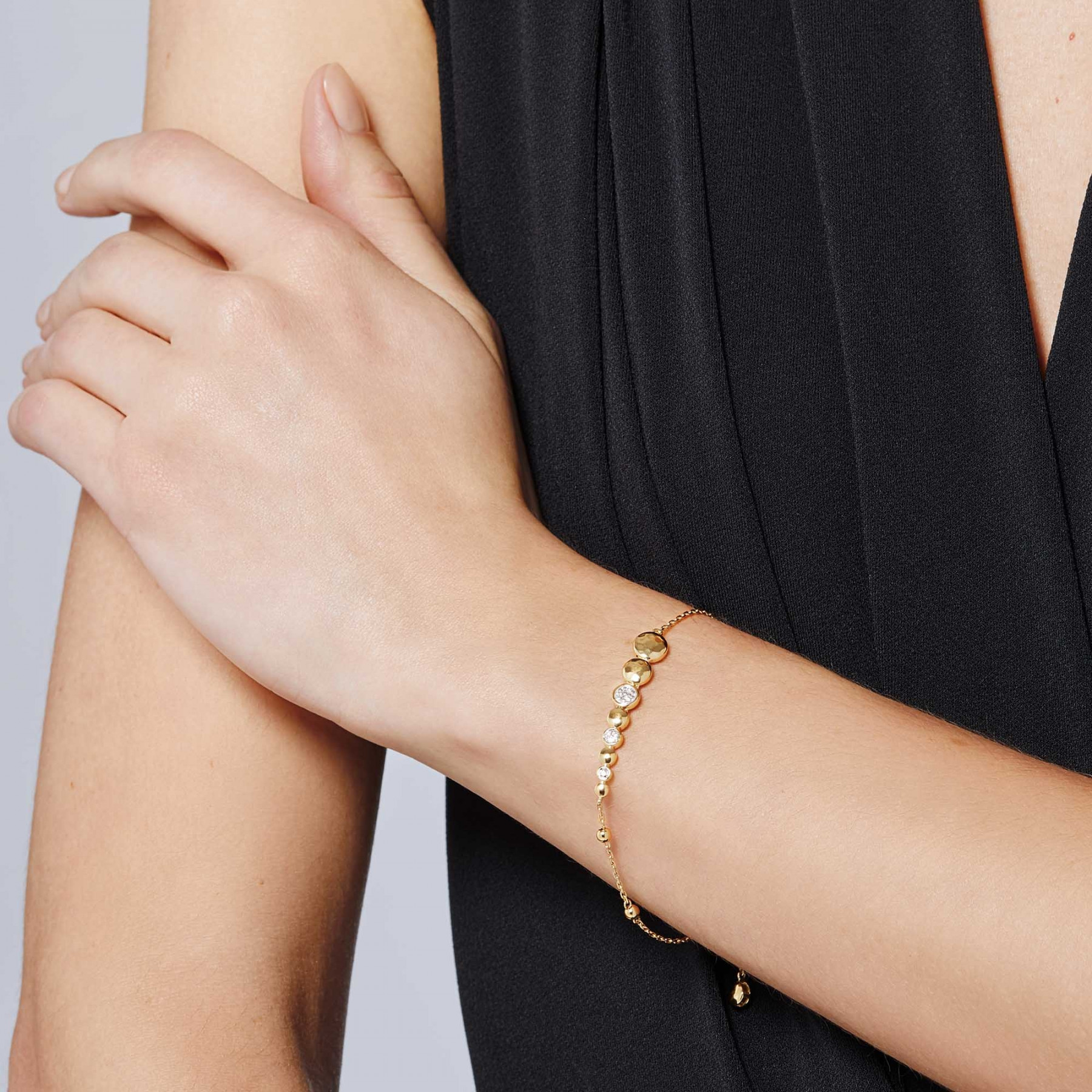 John Hardy Dot Yellow Gold & Diamond Pull Through Station Bracelet on model