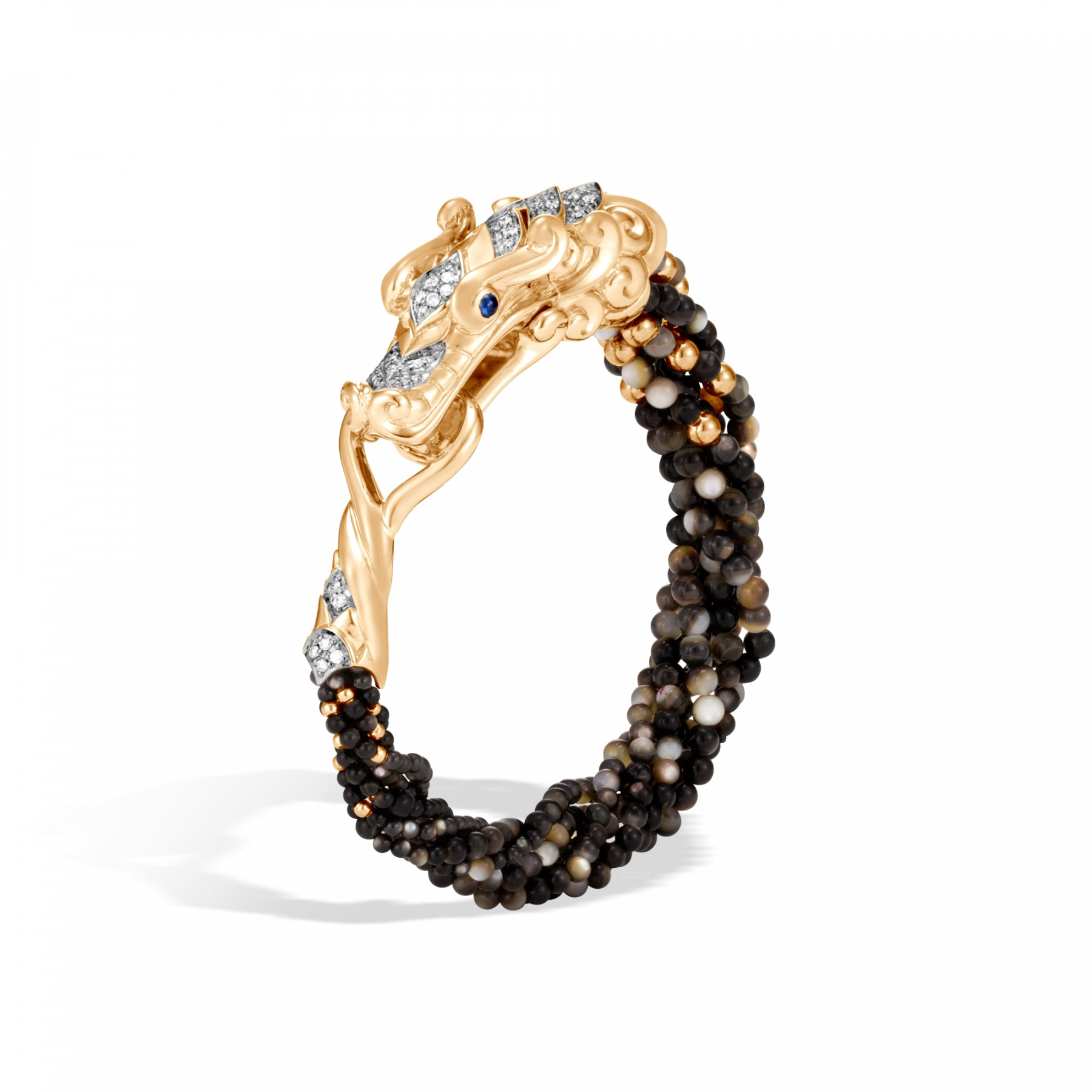 John Hardy Legends Naga Small Black Mother of Pearl Bead Bracelet angle view