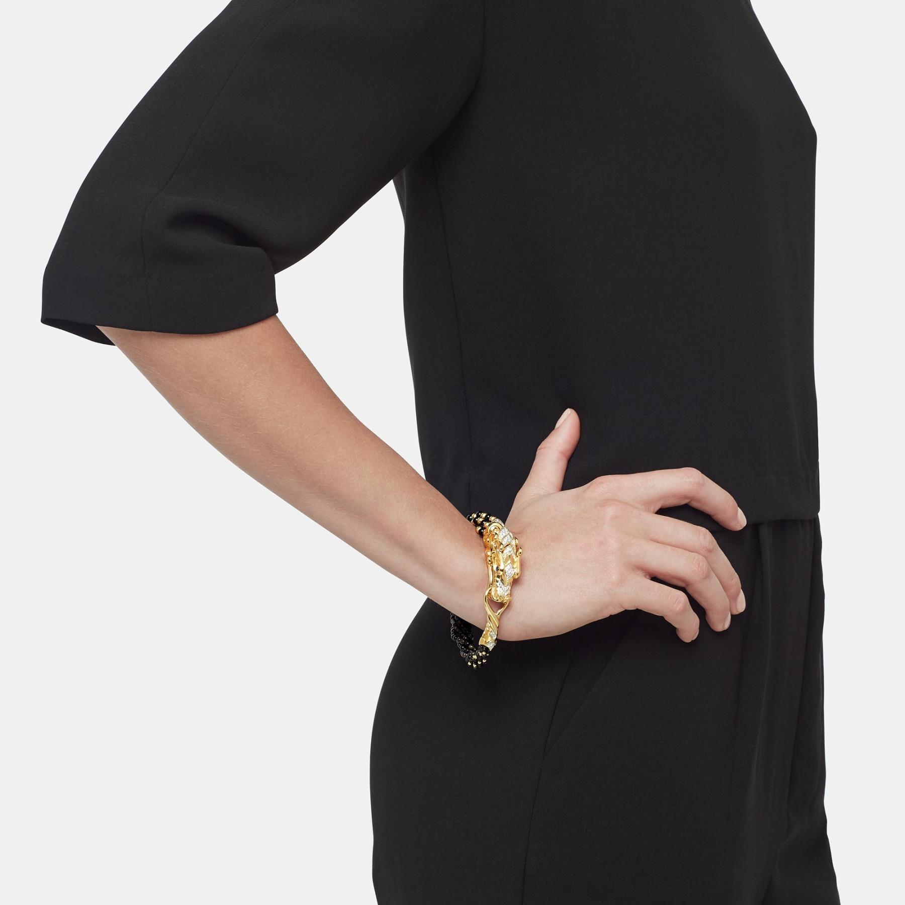 John Hardy Legends Naga Medium Black Mother of Pearl Bead Bracelet on model