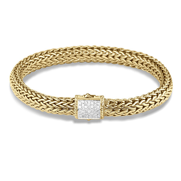 John Hardy Yellow Gold 7.5mm Diamond Large Bracelet