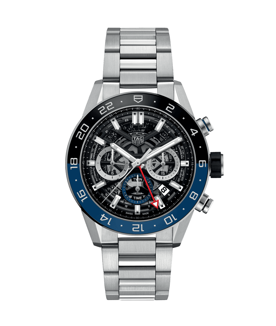 Tag Heuer Carrera Calibre Black and Blue Watch - 45mm front view