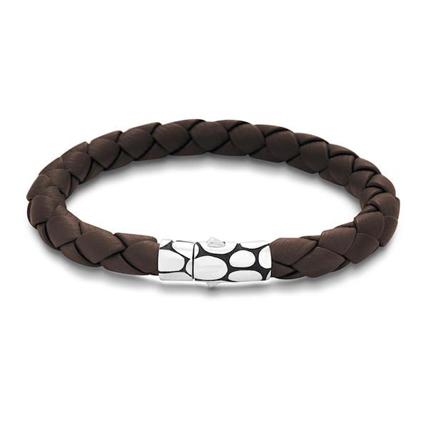 John Hardy Kali Brown Woven Large Leather Bracelet