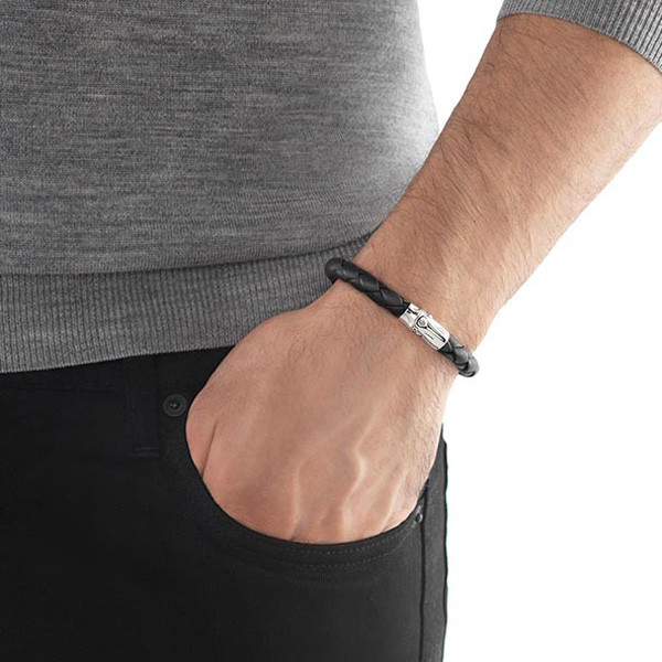 John Hardy Bamboo Black Woven Leather Bracelet with Silver Clasp On Model