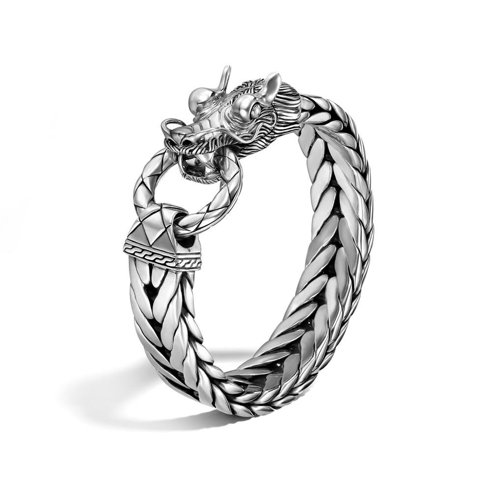 "John Hardy Naga Extra-Large Rectangular Chain Silver Bracelet 8.5"""