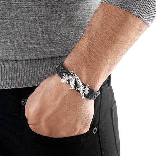 John Hardy Silver Dragon on Black Woven Leather Naga Bracelet on Model