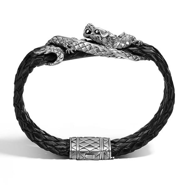 John Hardy Silver Dragon on Black Woven Leather Naga Bracelet Profile View