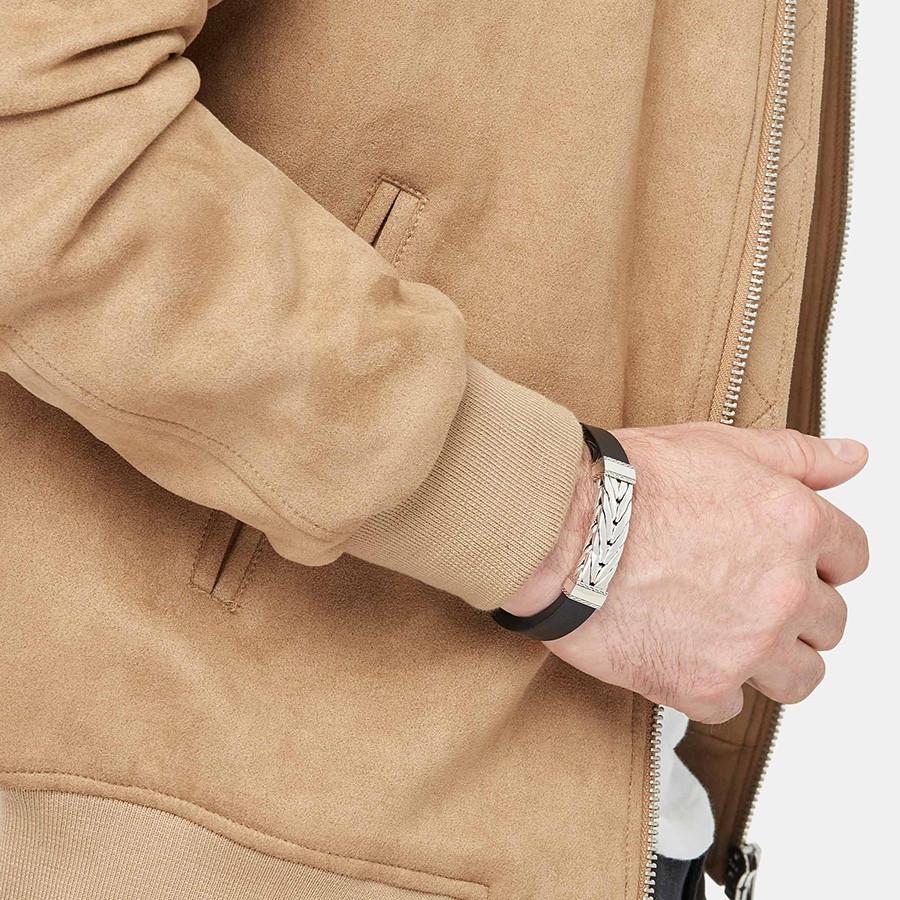 John Hardy Silver Modern Chain Station & Leather Bracelet on Model