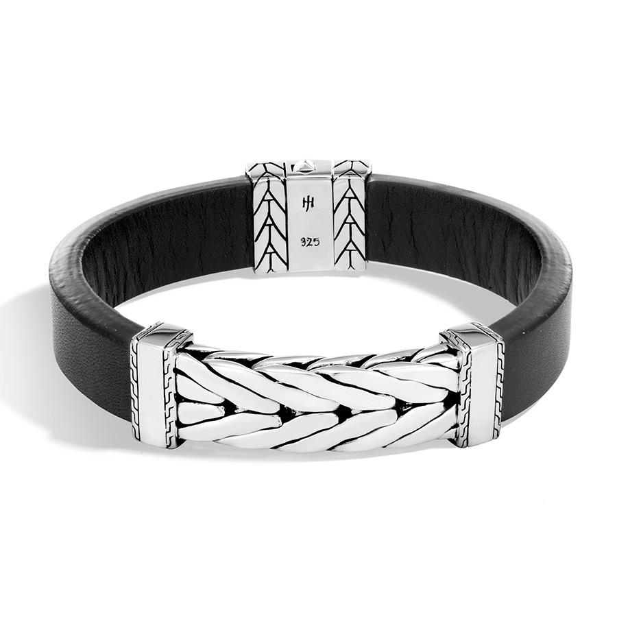 John Hardy Silver Modern Chain Station & Leather Bracelet