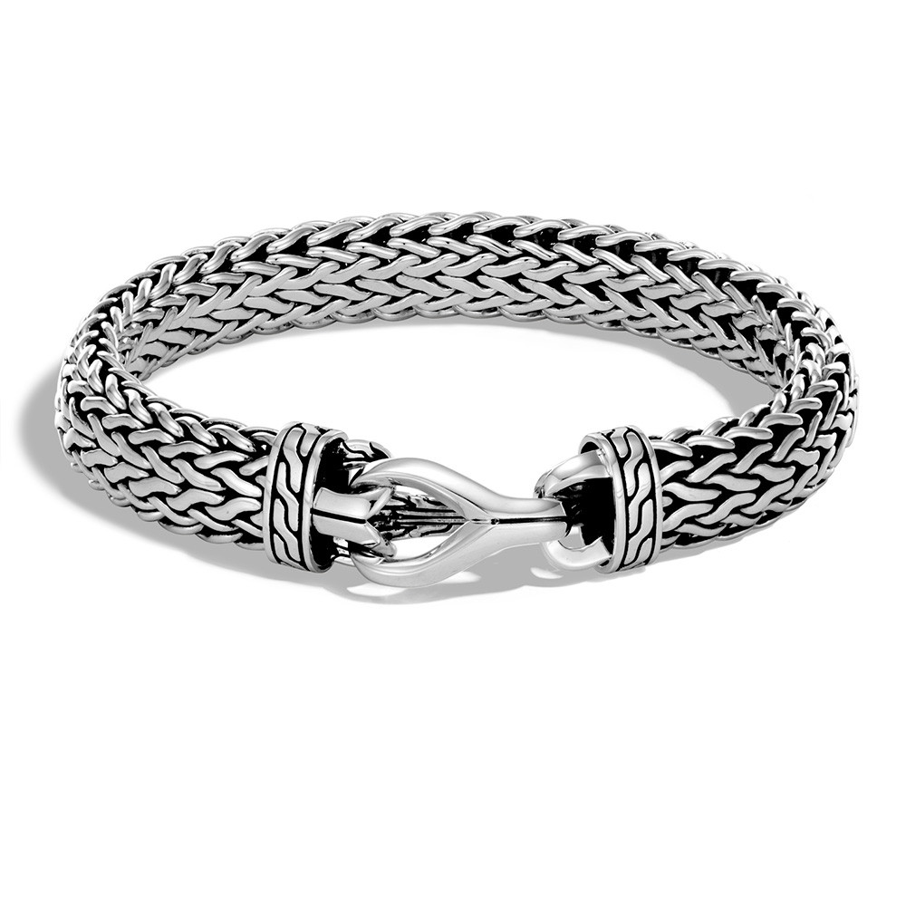 John Hardy Classic Chain Asli Sterling Silver Woven Link Clasp Bracelet