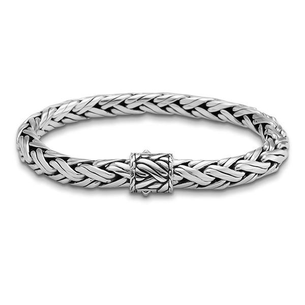 John Hardy Classic Chain 8mm Silver Woven Chain Bracelet