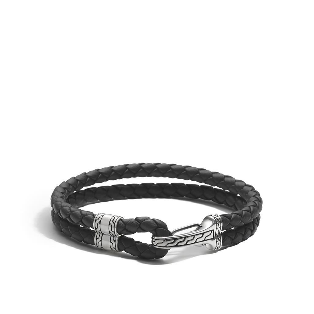John Hardy Black Leather Hook Station Classic Chain Bracelet