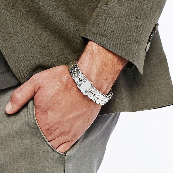 John Hardy Modern Chain Wide Bracelet on Model