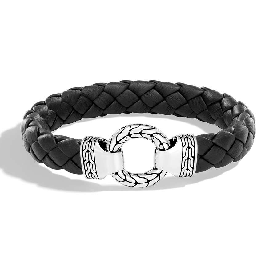 John Hardy Classic Chain Large Leather Braided Ring Clasp Bracelet