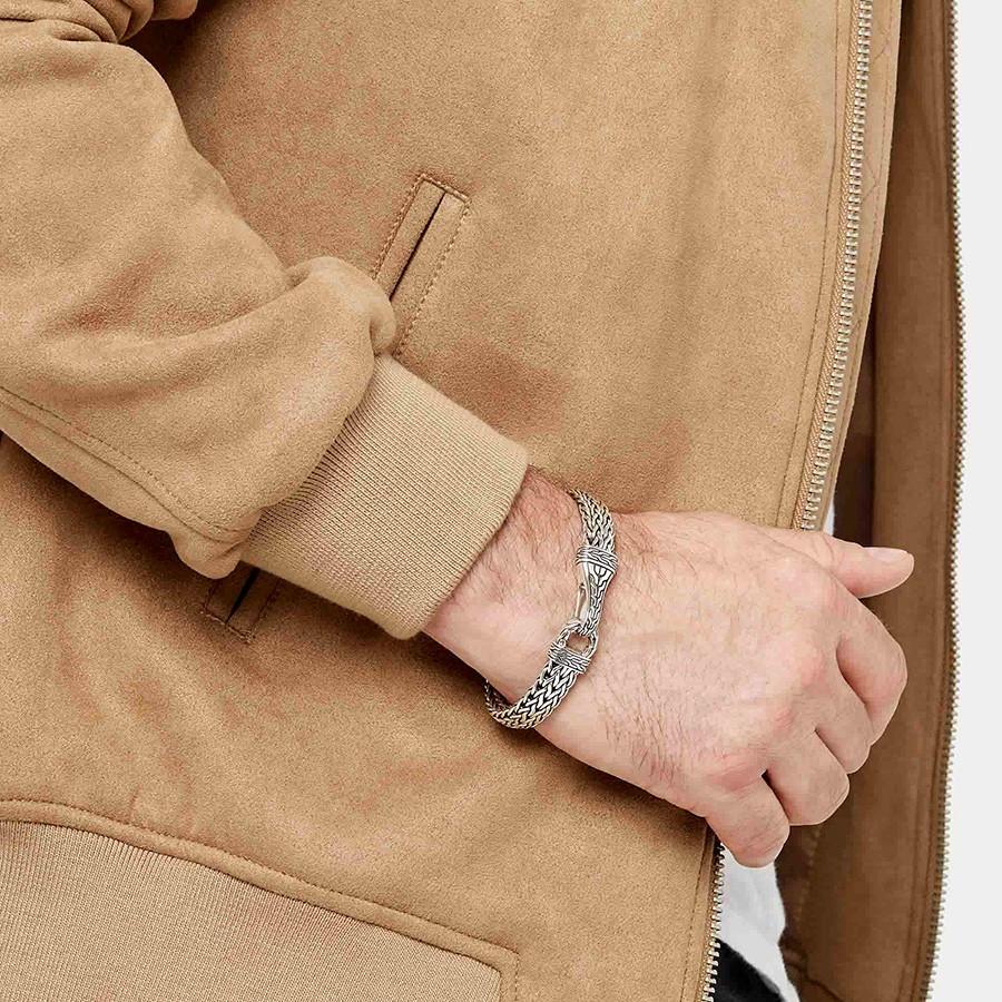 John Hardy Men's Classic Chain Silver Hook Bracelet on Model