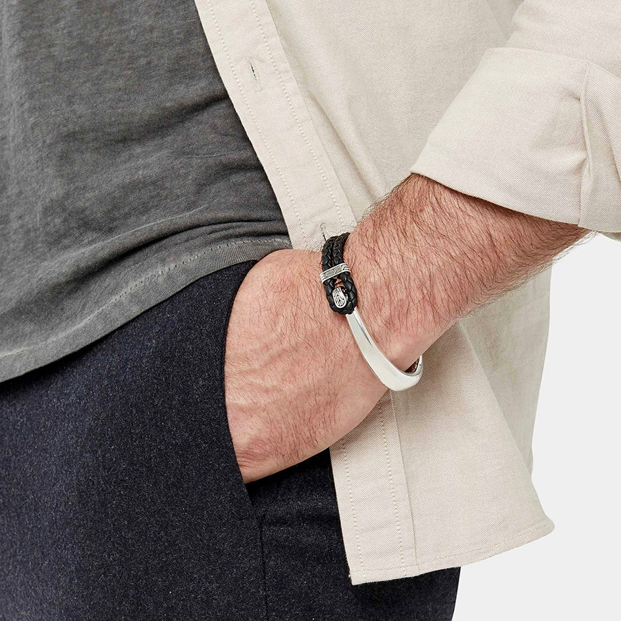 John Hardy Sterling Silver Classic Chain Half Cuff Leather Hook Bracelet on Model
