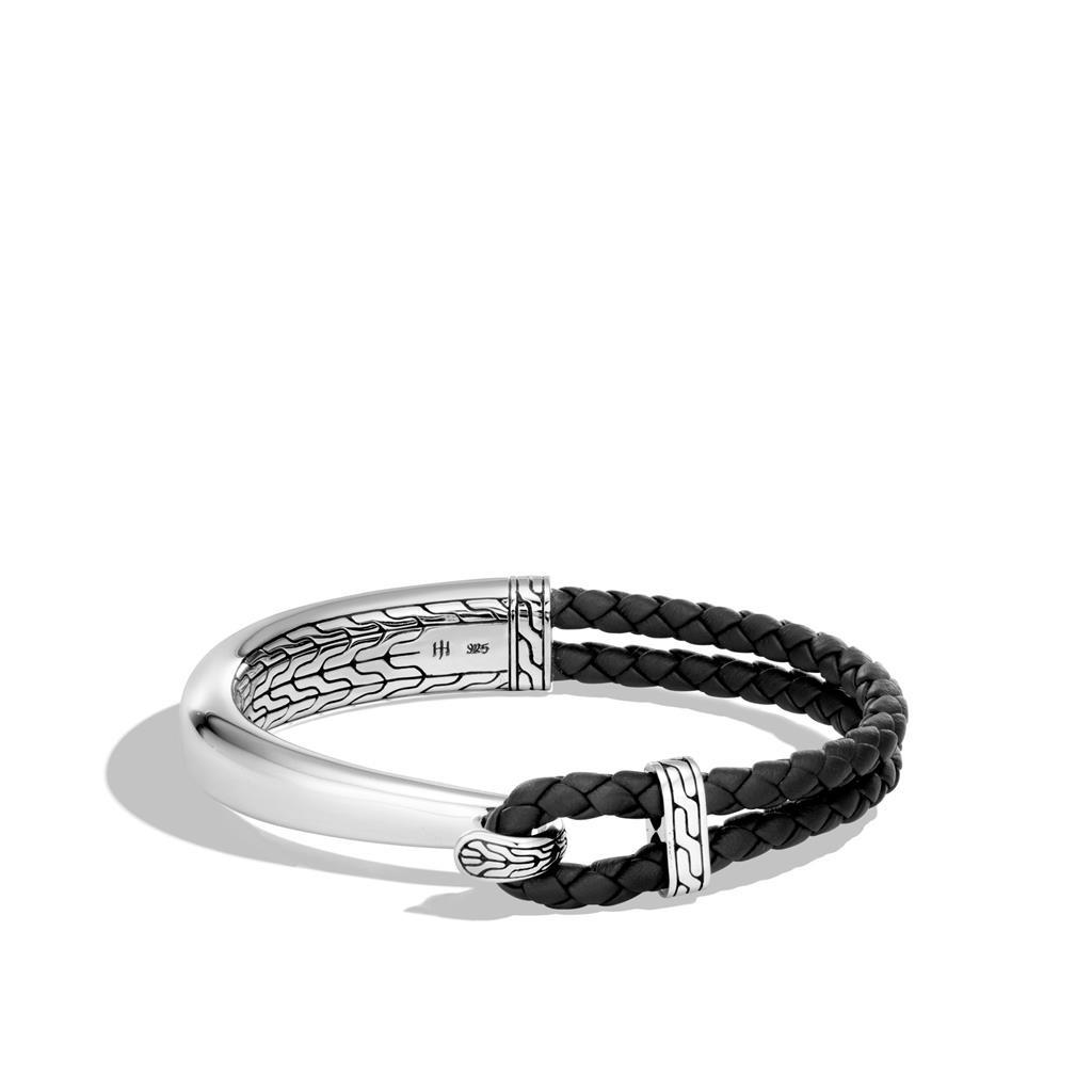John Hardy Sterling Silver Classic Chain Half Cuff Leather Hook Bracelet