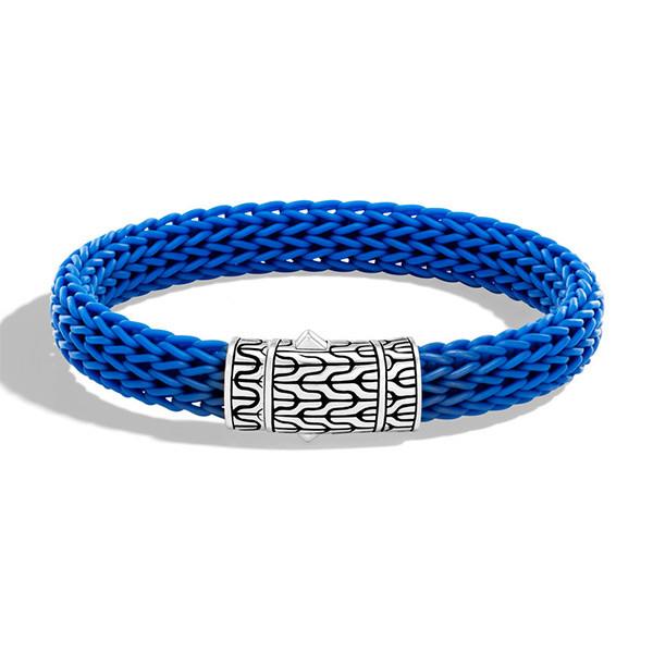John Hardy Blue Rubber Silver Classic Chain Station Bracelet