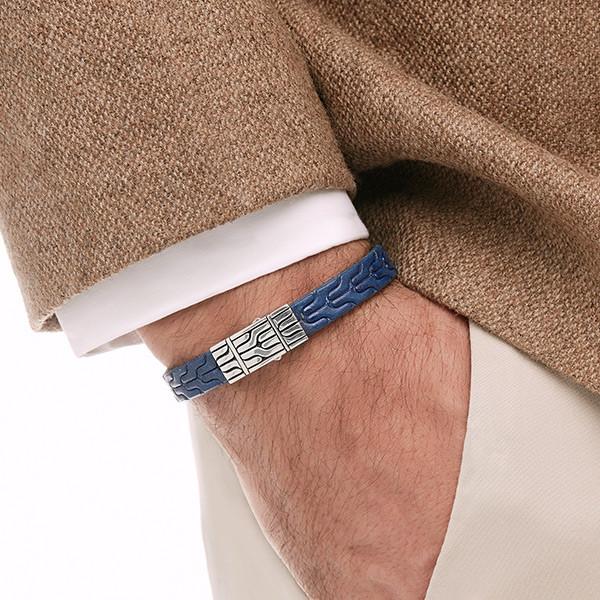 John Hardy Classic Chain Blue Leather Bracelet on Model