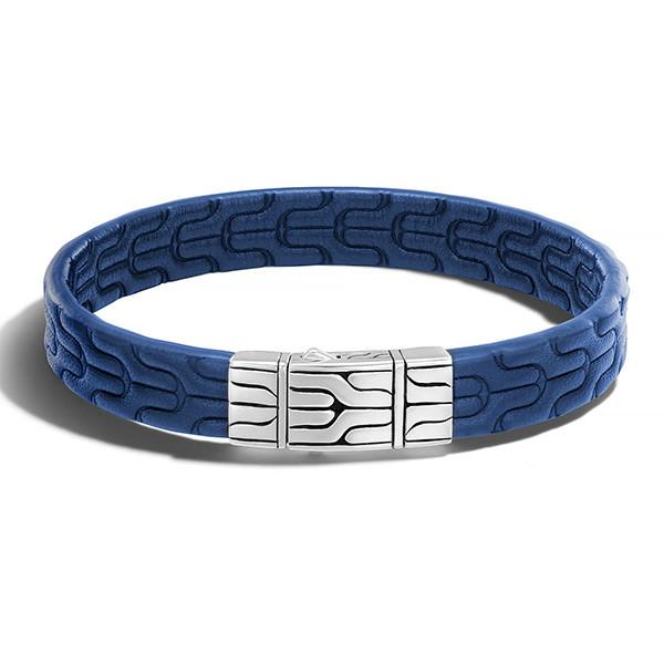 John Hardy Classic Chain Blue Leather Bracelet