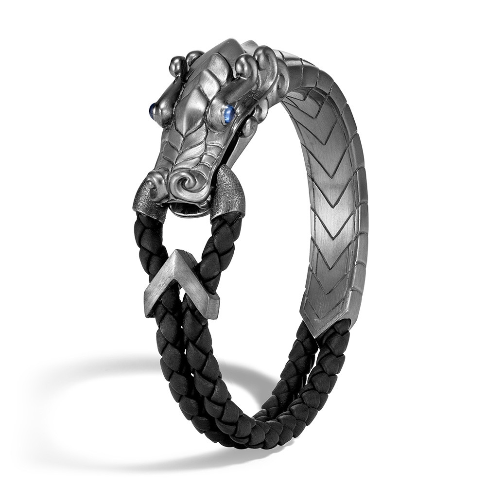 John Hardy Naga Legends Blackened Silver Dragon Head Leather Bracelet