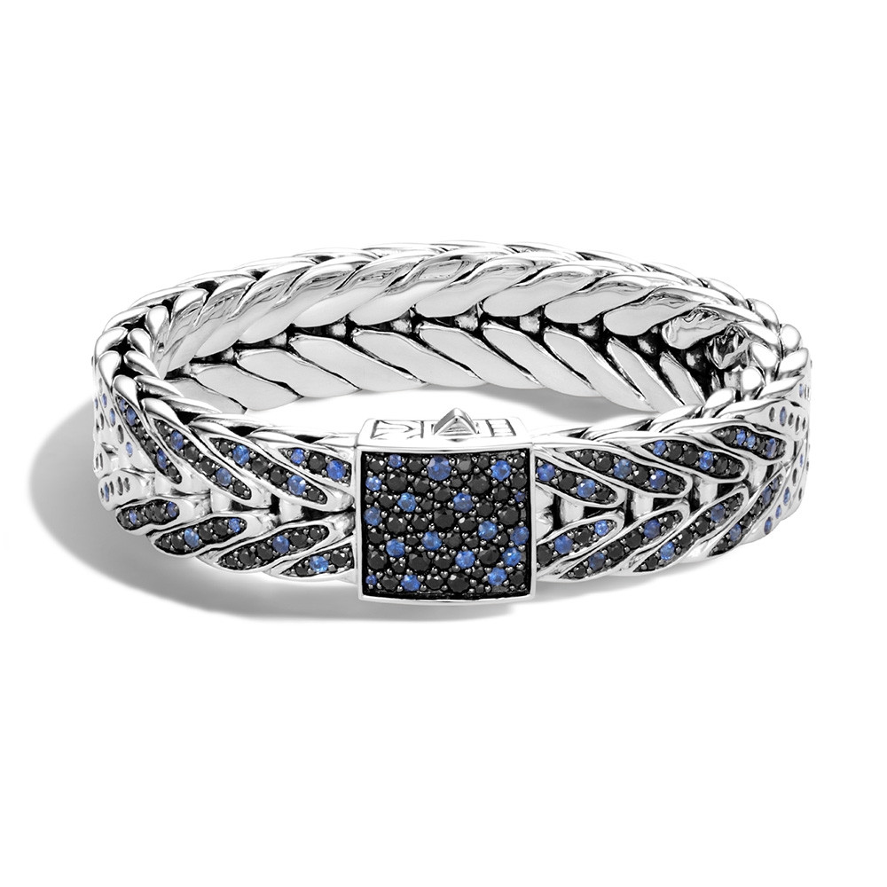 John Hardy Modern Chain Wide Small Blue & Black Sapphire Small Bracelet